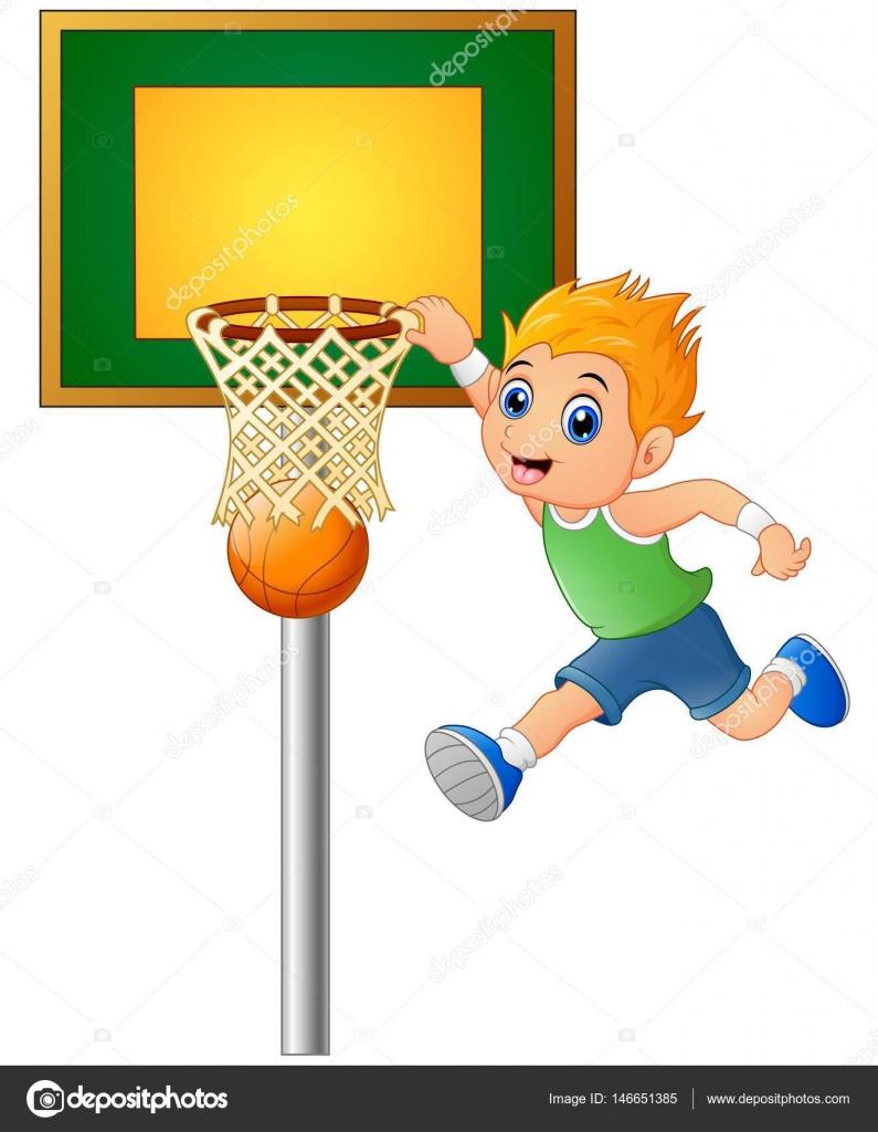 Kreslene Chlapce Hrat Basketbal Stock Vektor C Dualoro 146651385