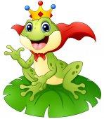 Žabí princ karikatura na list leknínu