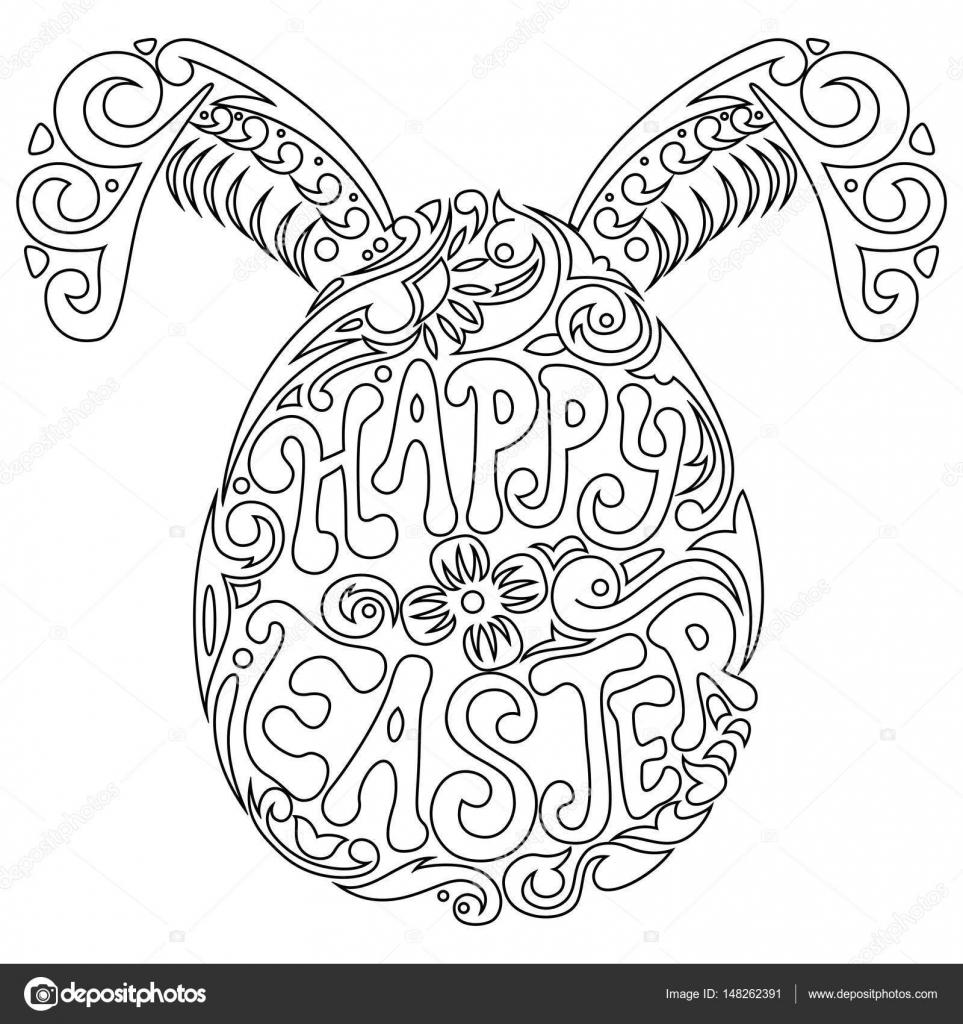 Hand Getekende Paasei En Bunny Oren Voor Volwassen Kleurplaat In