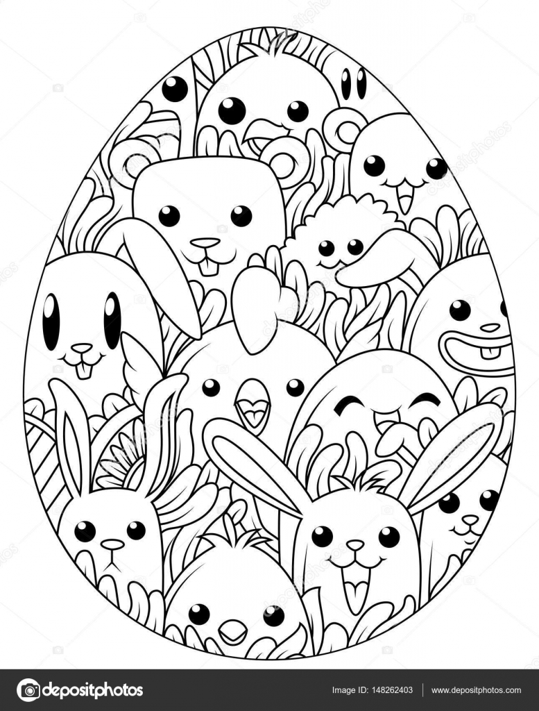 Hand Drawn Easter Eggs For Coloring Book Adult And Cute Cartoon