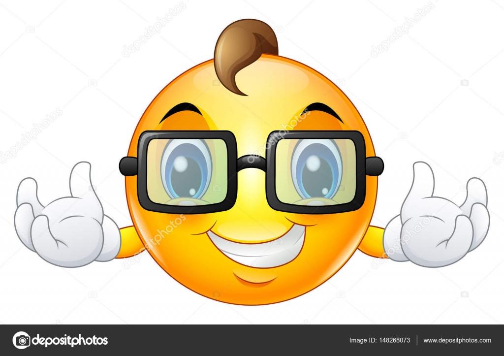 Dessin Animé Emoji émoticône Smiley Face Une Lunettes De