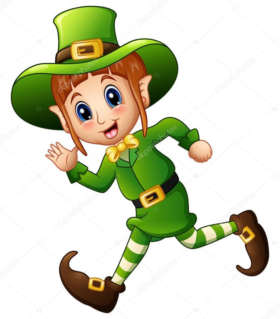 Cute Cartoon Girl Leprechaun Running  Stock Vector