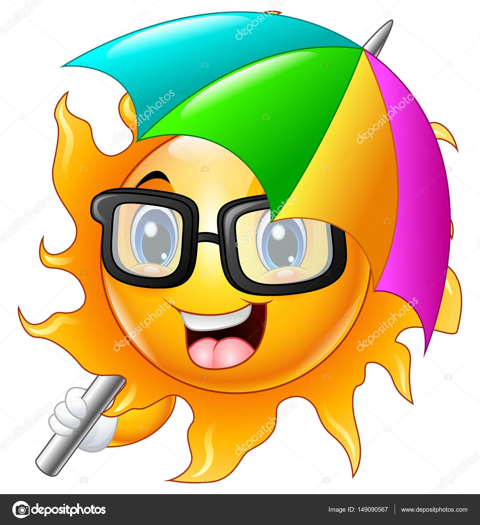 f0c227a5736b8b Stripfiguur van zon in zonnebril met paraplu — Stockvector © dualoro ...