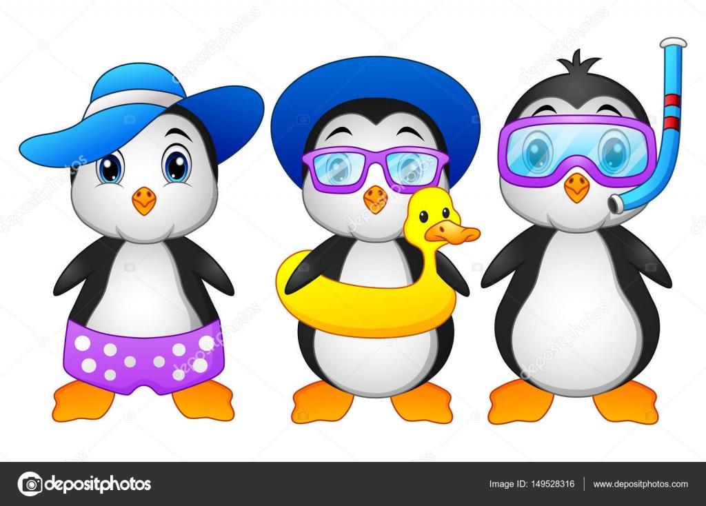 Penguins de dessin animé mignon en vacances d'été — Image ...