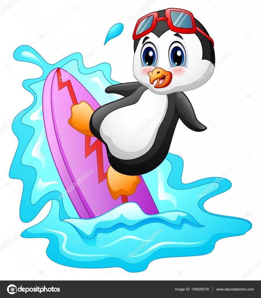 Pingouin dessin anim surfer sur l eau image vectorielle dualoro 149528318 - Dessin anime les pingouins ...
