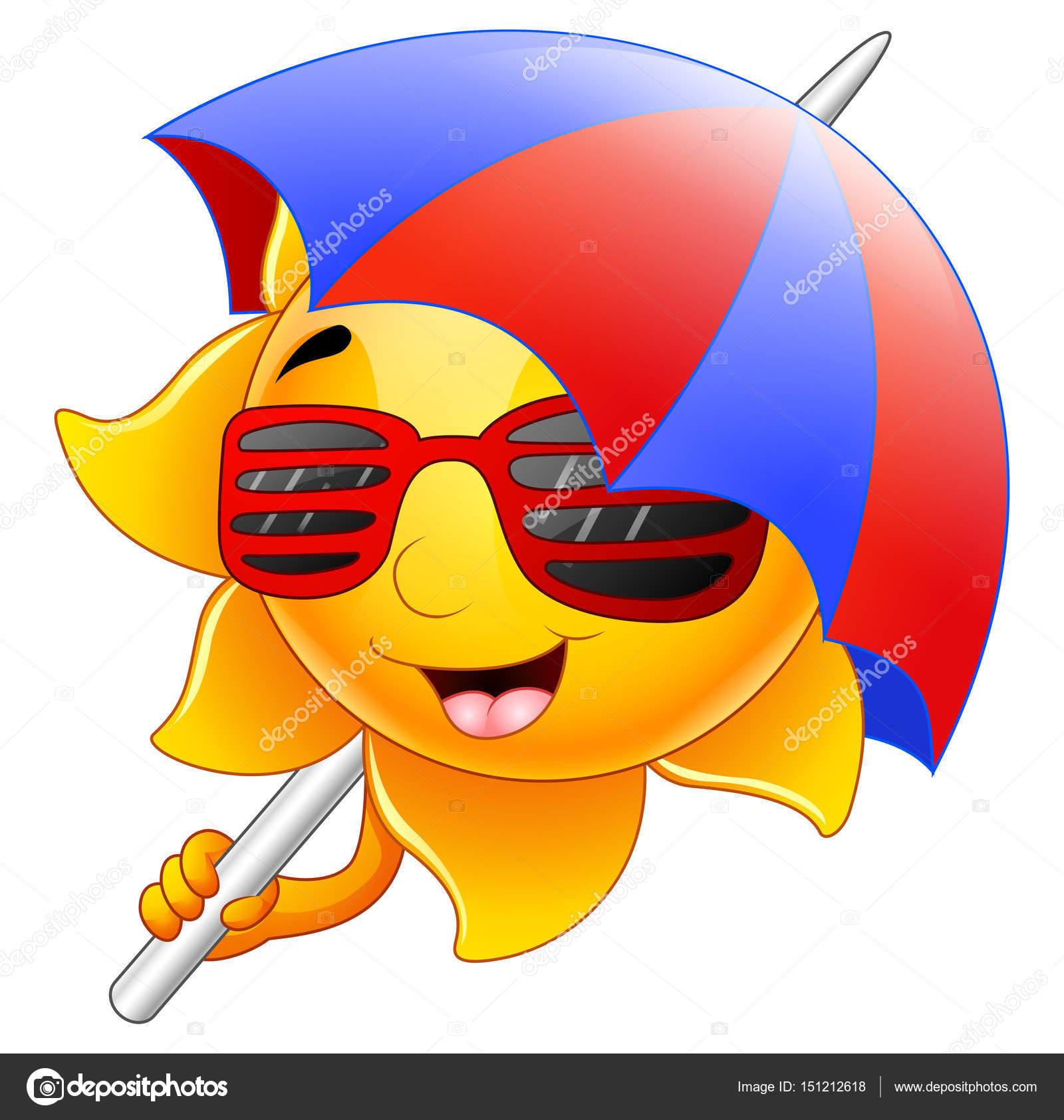bab3b0216d78ae Zon teken cartoon met zonnebril en paraplu — Stockvector © dualoro ...