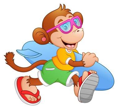 Cartoon monkey with surfboard running