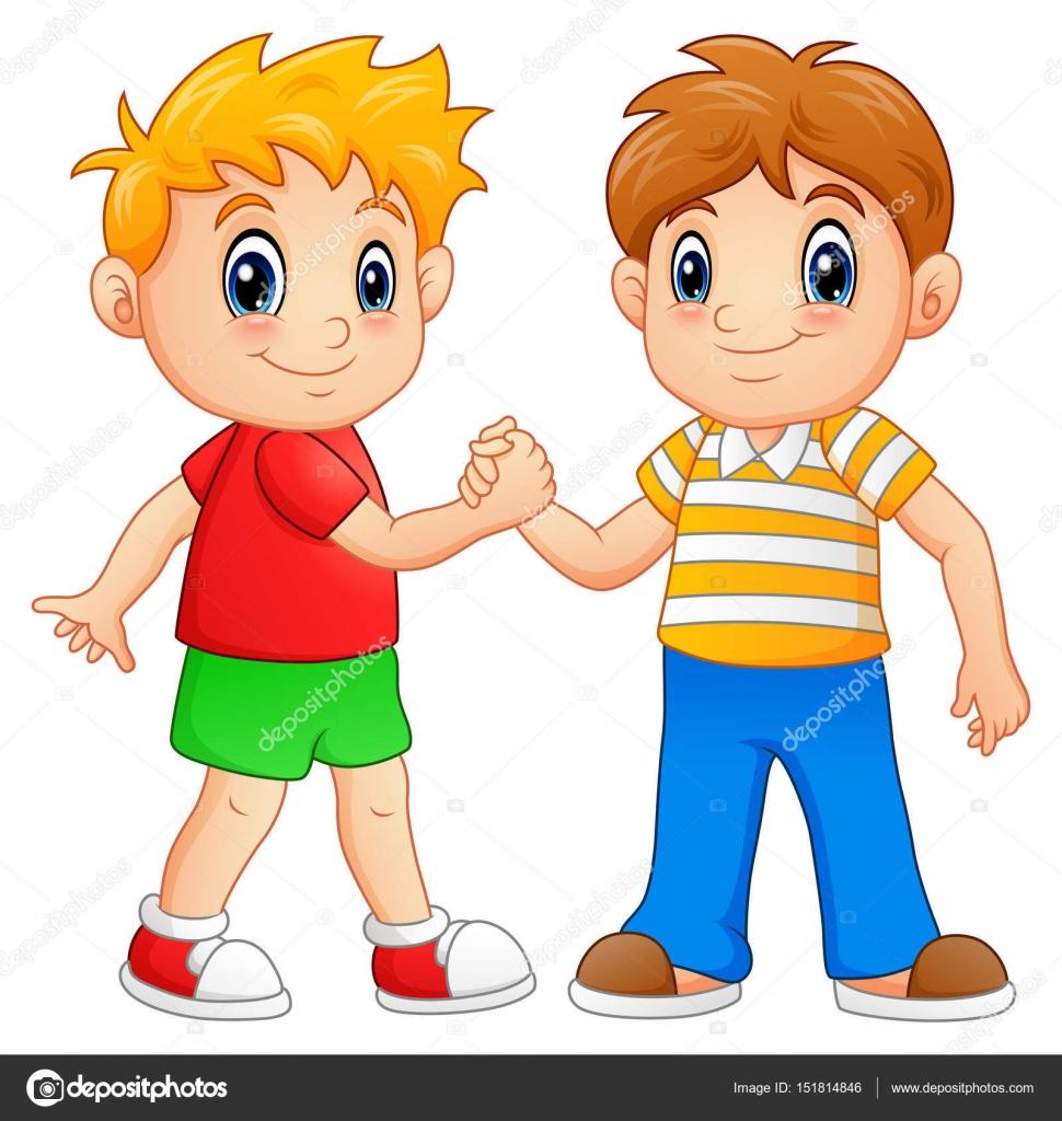 Dibujos animados de niños agitando las manos — Vector de ...