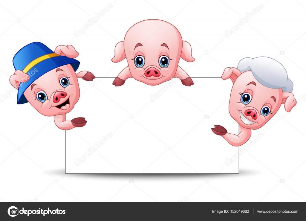 Os Três Porquinhos Dos Desenhos Animados Com Sinal Em Branco