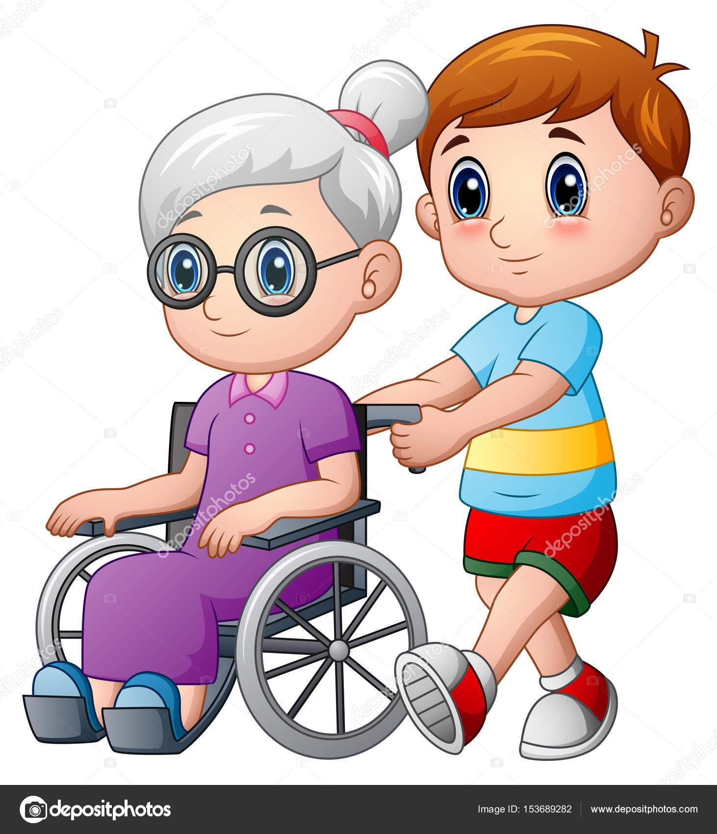 Ni o de dibujos animados con la abuela en silla de ruedas archivo im genes vectoriales - Silla de ruedas ninos ...