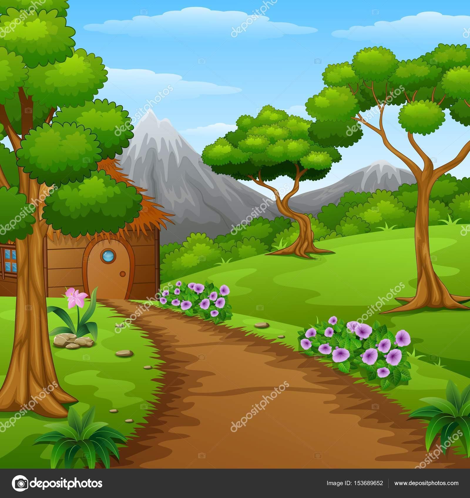 Caba a de madera de dibujos animados en el bosque vector for Imagenes de fuera de lugar