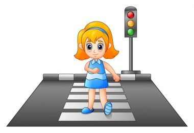 Cartoon girl crossing the street