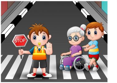 Cartoon flagger and boy helps grandma in wheelchair crossing the street