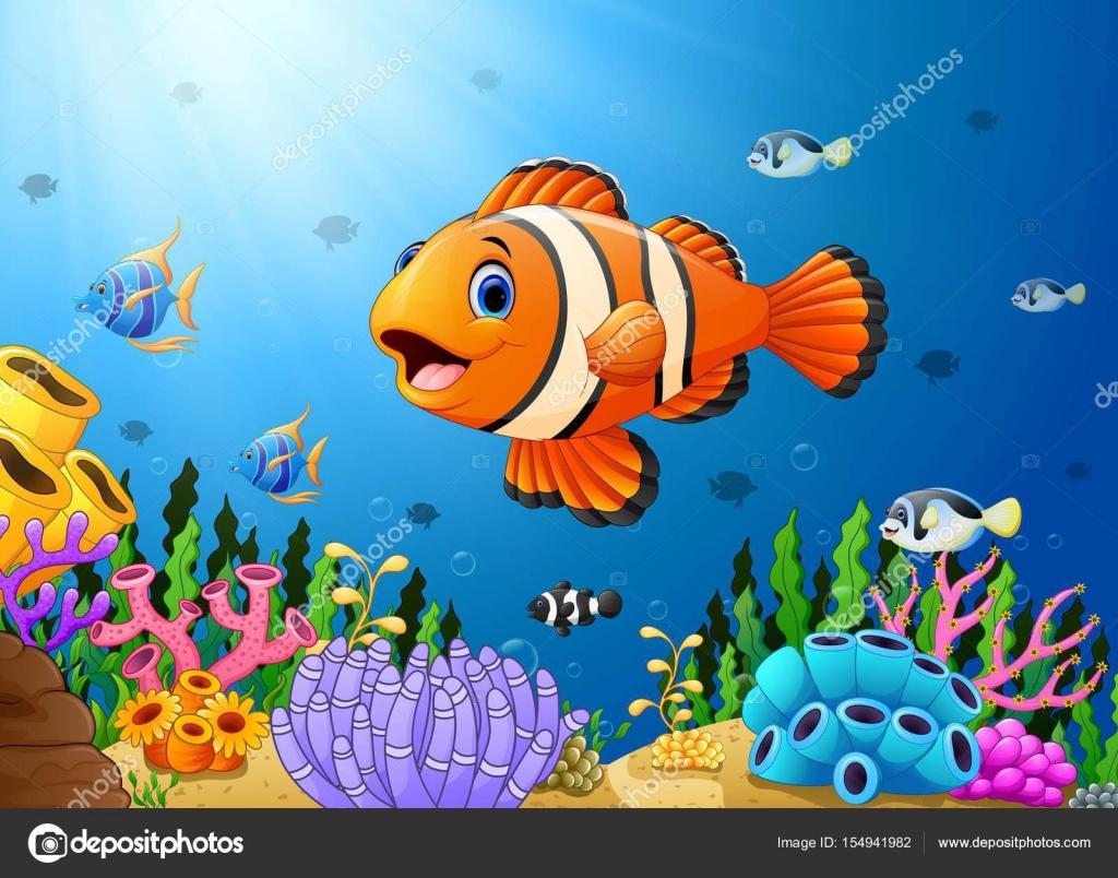 Dibujos animados lindo payaso peces en el mar archivo for Construccion de tanques para peces