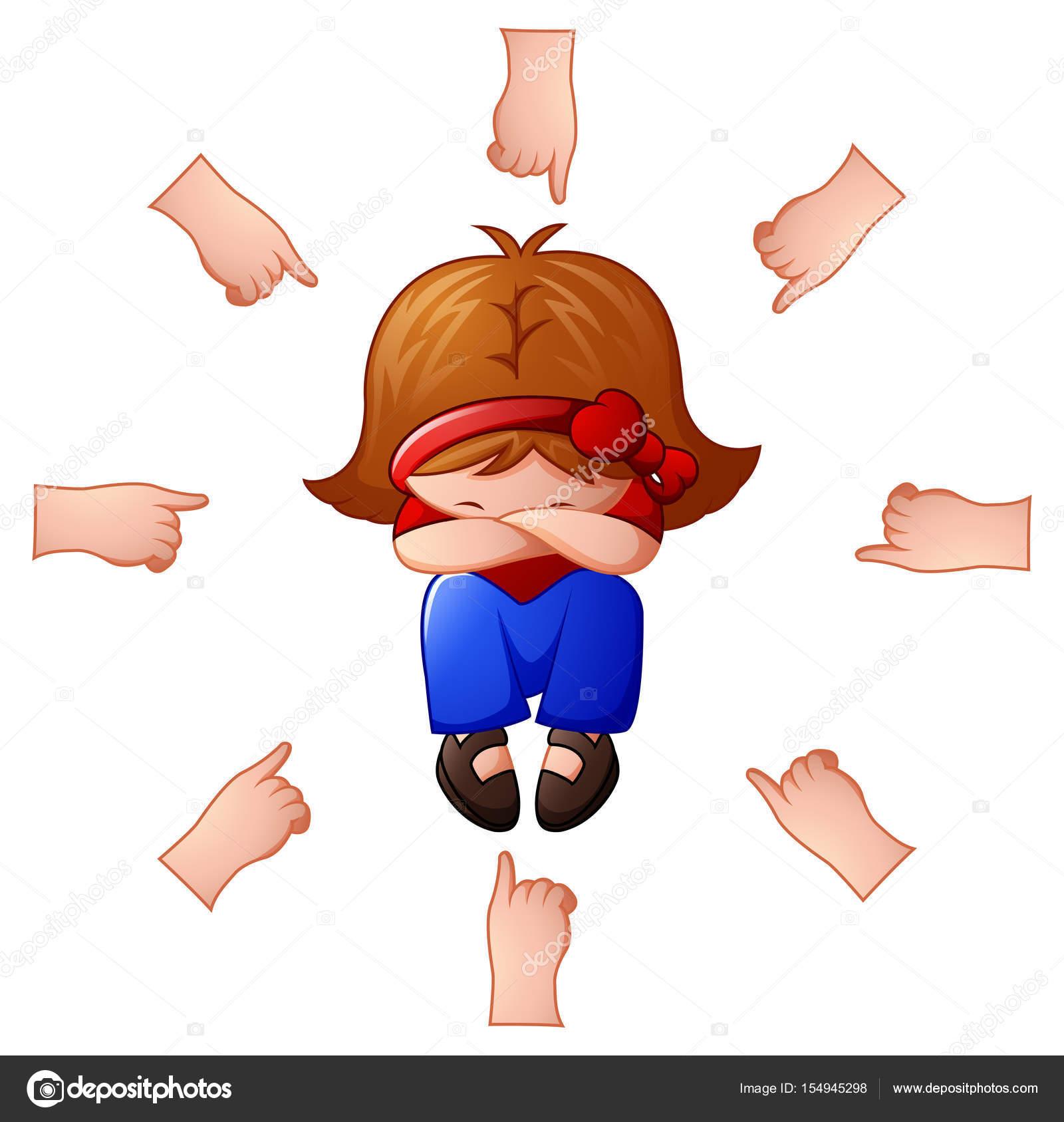 彼女を指差しの指を使って非難されている少女 ストック