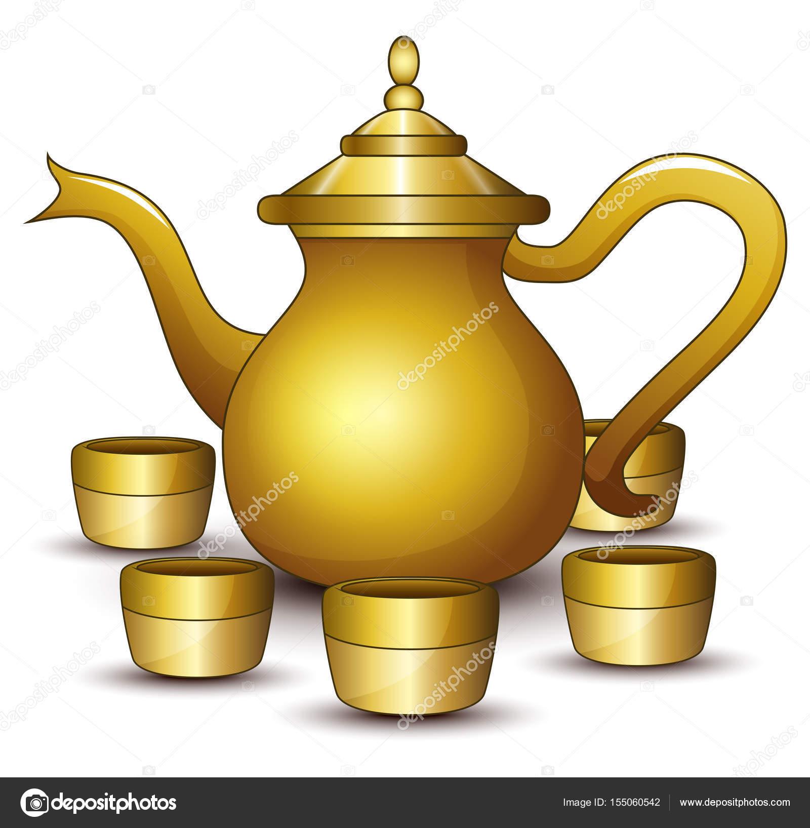 Gold teapot cartoon with some cup — Stock Vector © dualoro #155060542