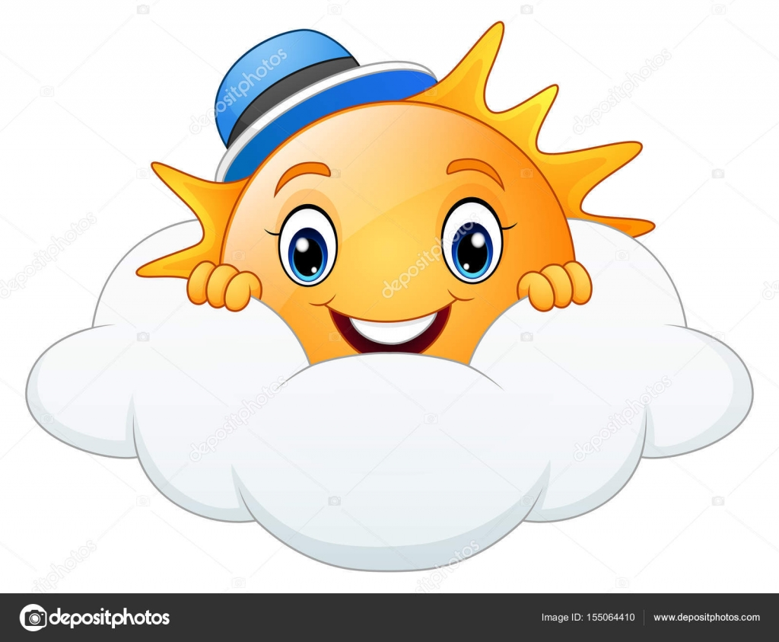 Dibujo De Sonriendo Ardilla De Dibujos Animados Para: Dibujos Animados De Sol Sonriente Con Tapa Azul Con Nubes
