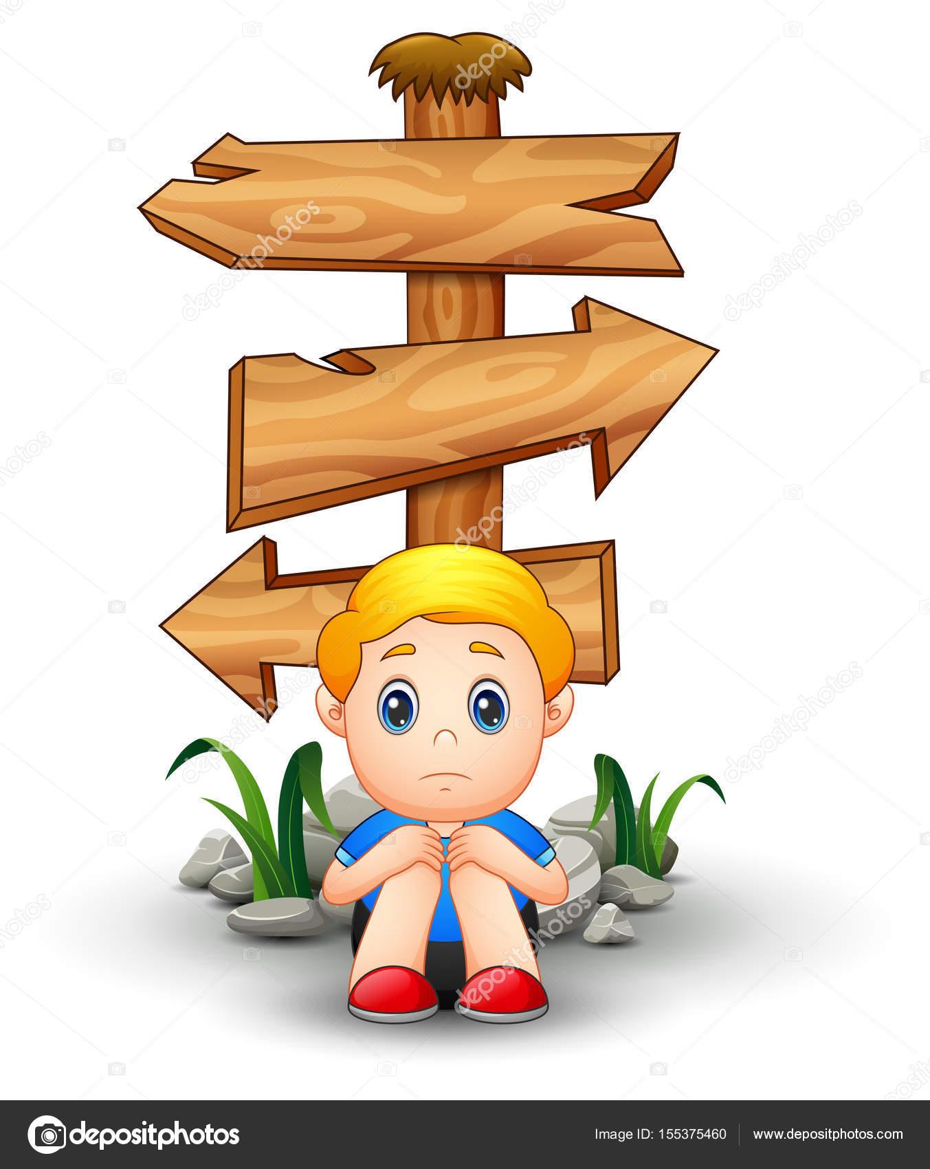 Sad boy cartoon sitting under blank wood arrow sign stock vector