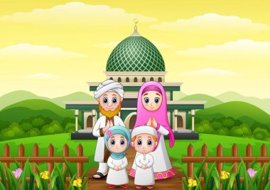 Happy family cartoons celebrate for eid mubarak with mosque in the forest