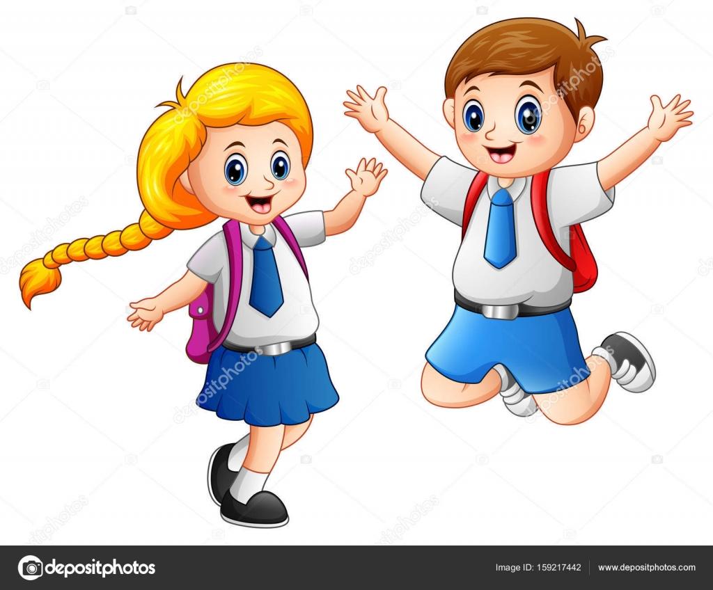 Niños De La Escuela Feliz En Uniforme Escolar