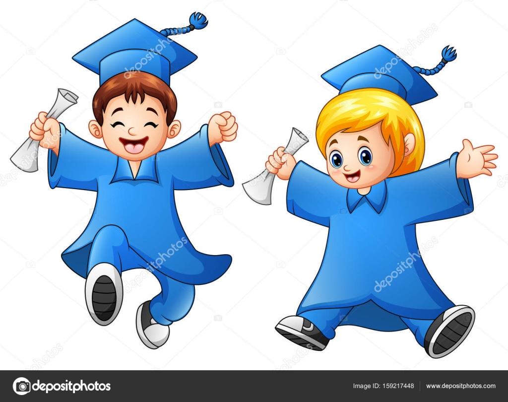 Graduación De Niño Y Niña De Dibujos Animados