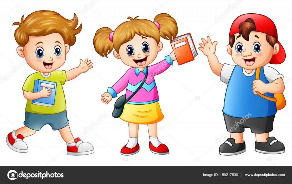 Stastny Skolni Deti Kresleny Stock Vektor C Dualoro 159217530