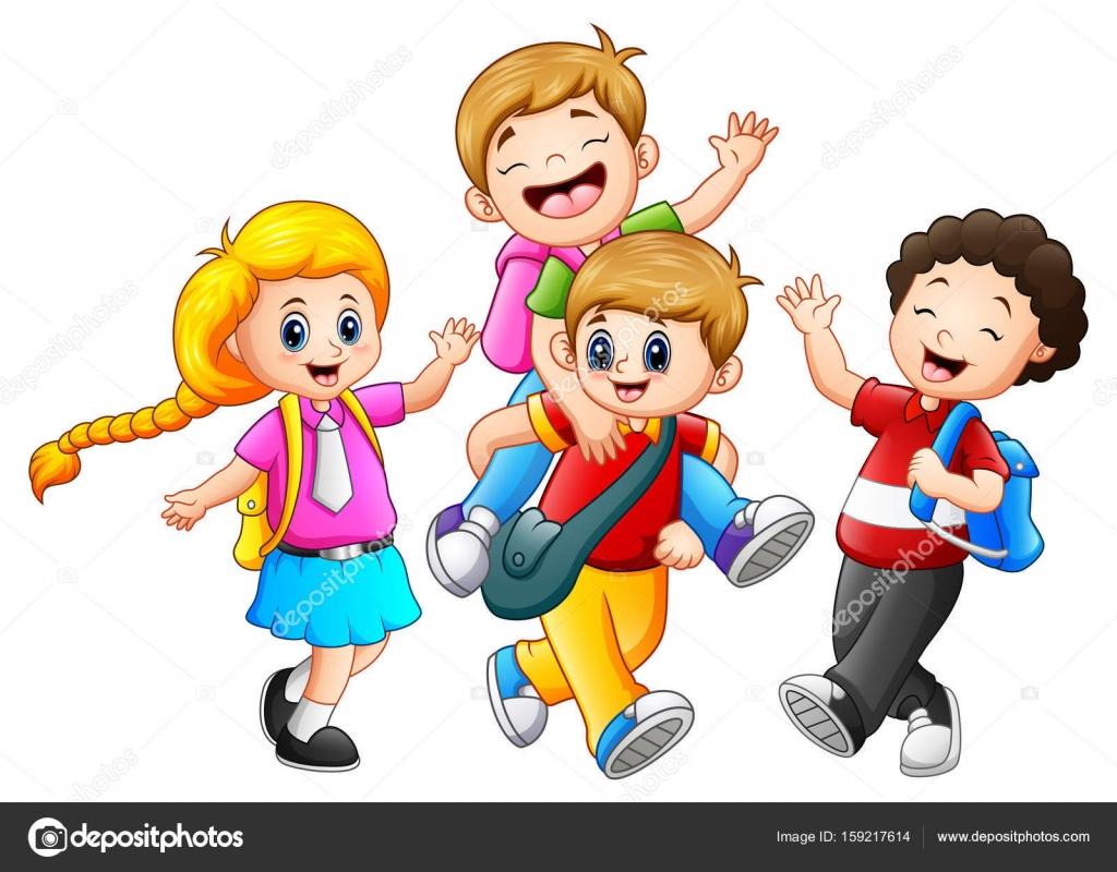 Dibujos Animados Feliz Niños Bailando