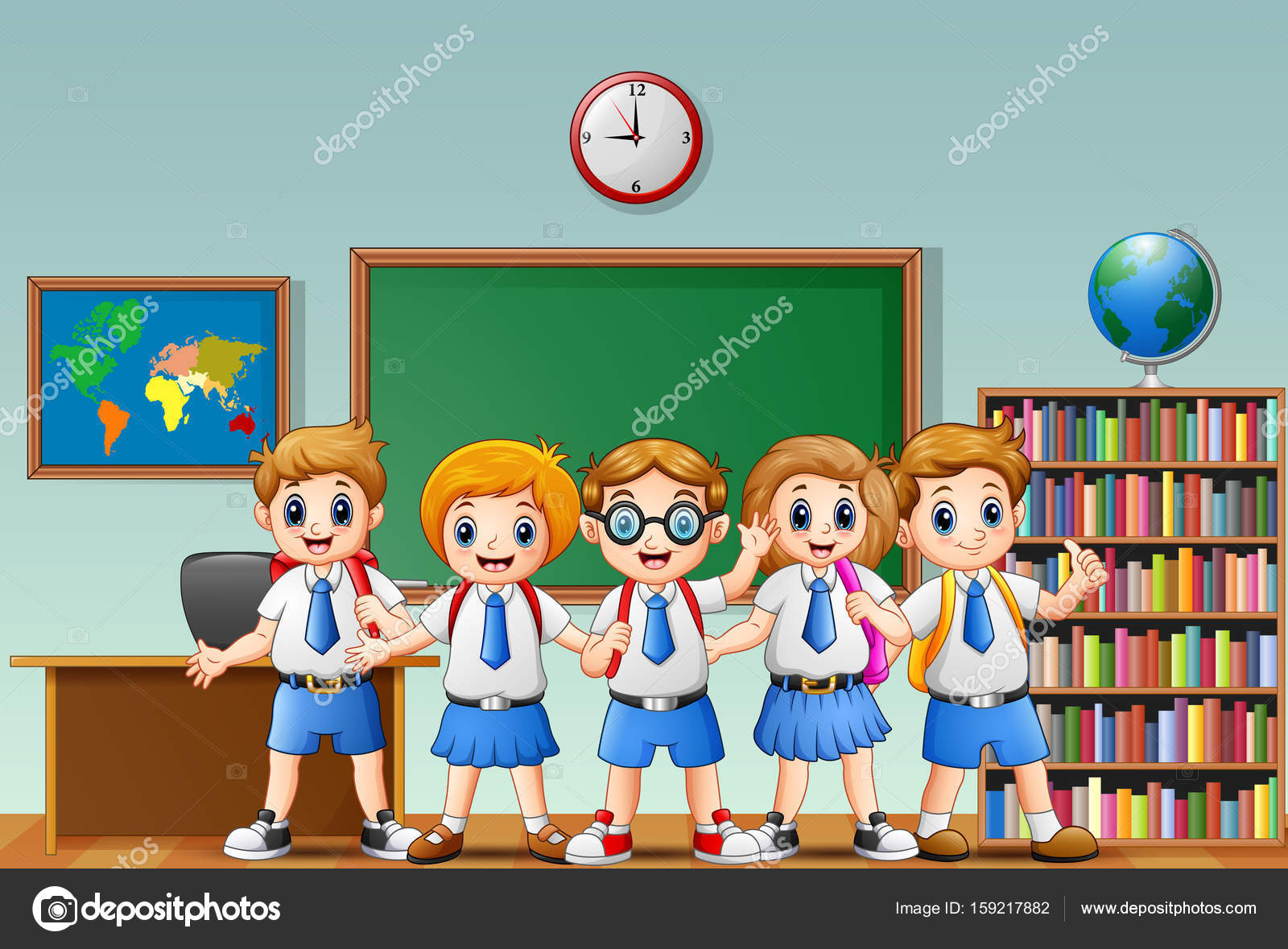 Dibujos Caras De Niños Felices Animadas: Dibujos Animados De Niños Felices De La Escuela