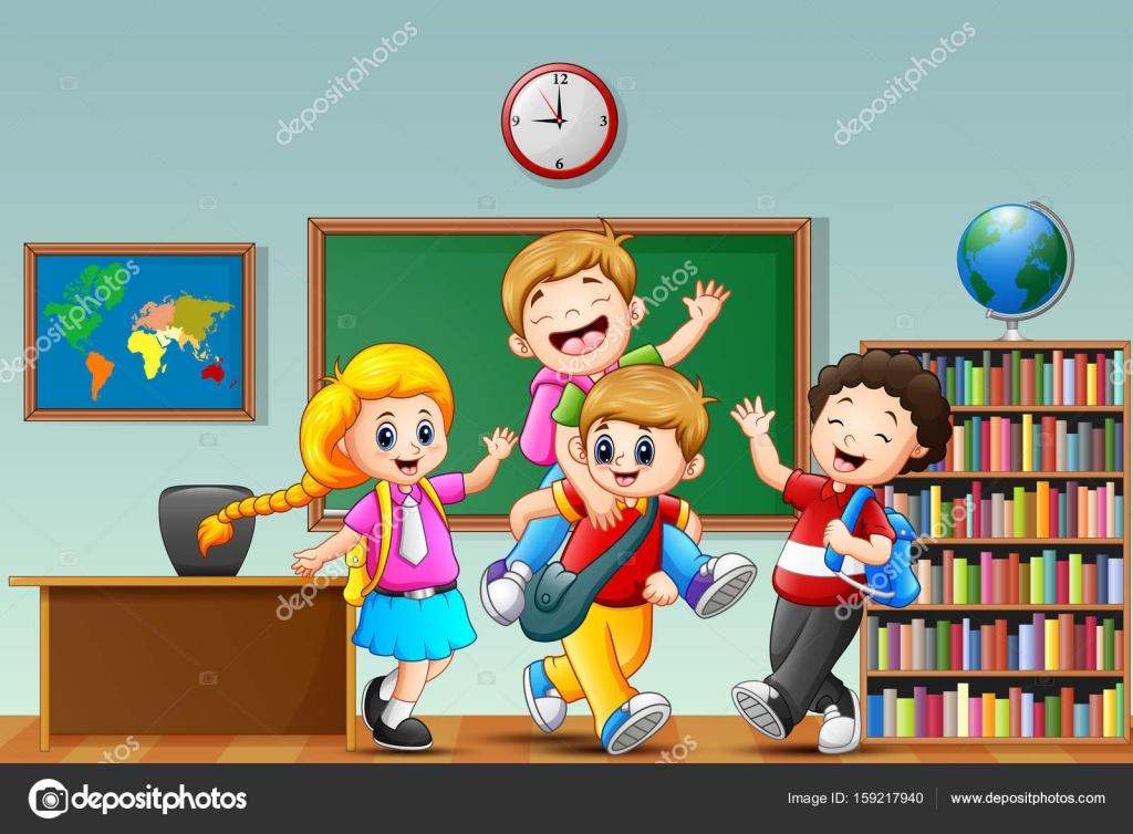 Feliz Childriens Dibujos Animados En El Aula