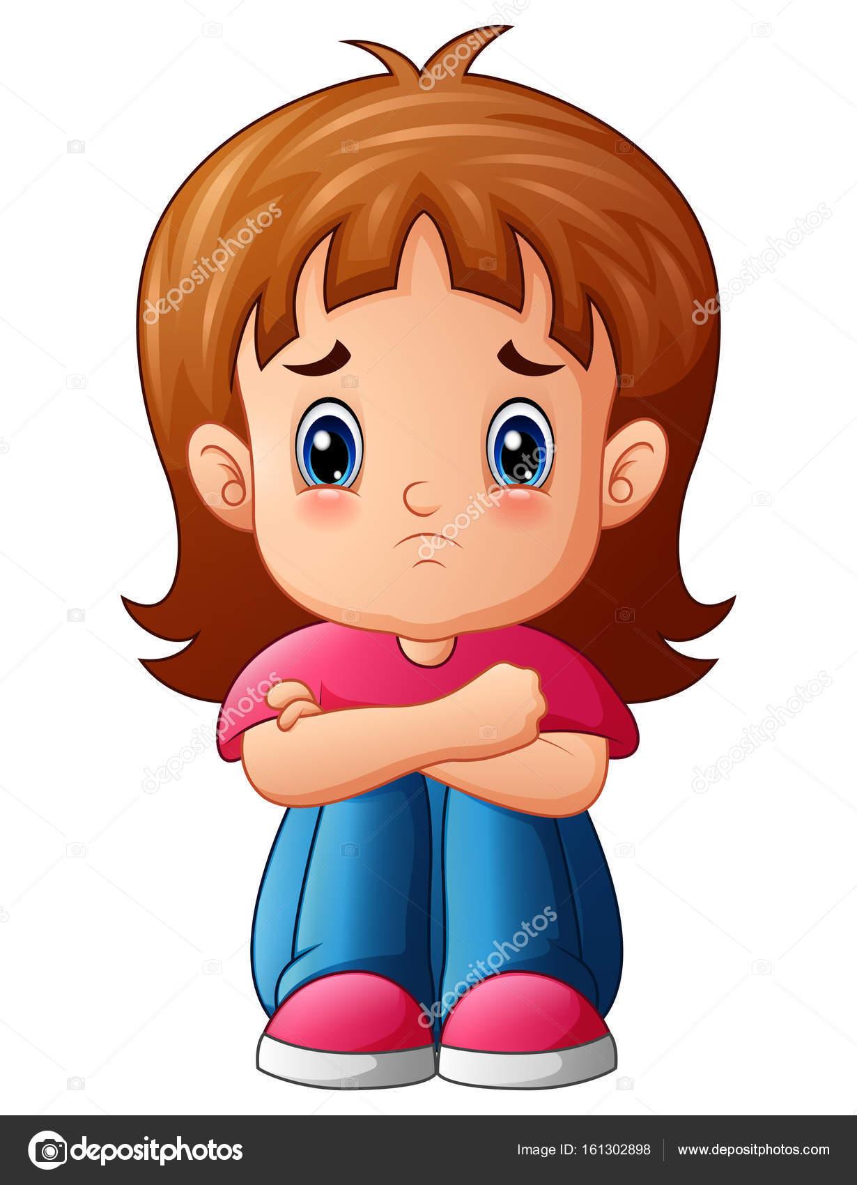 Chica triste dibujo dibujos animados chica triste - Cartoon girl sitting alone ...