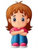 Smutná dívka kreslený sedí sám