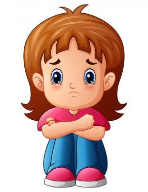 Sad girl cartoon sitting alone