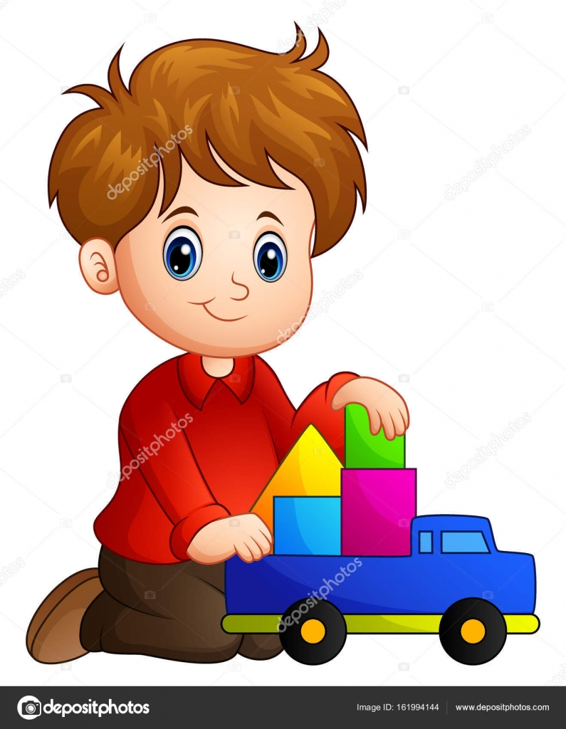 Little boy build a house out of blocks with toy truck — Stock