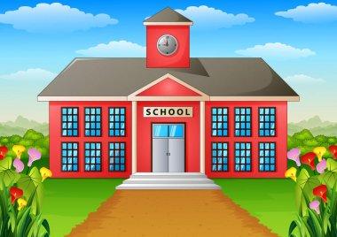 Cartoon school building with green yard
