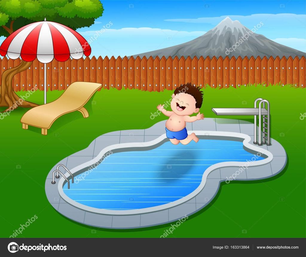 Ni o de dibujos animados saltar en la piscina vector de for En la piscina