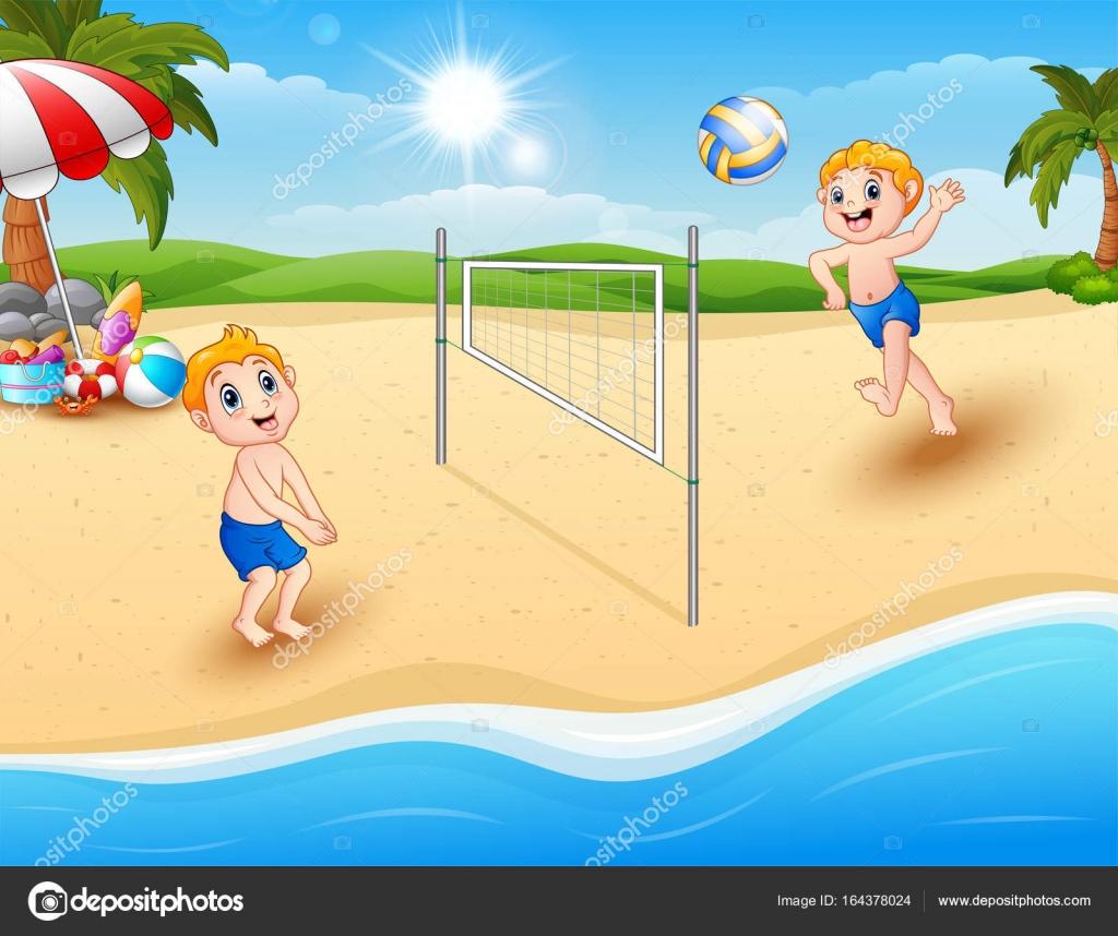 niños jugando voleibol en la playa — Archivo Imágenes Vectoriales ...