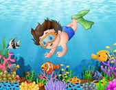 Fotografie Kleiner Junge taucht im Meer