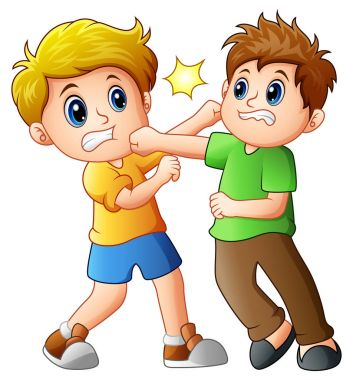 Two boys fighting