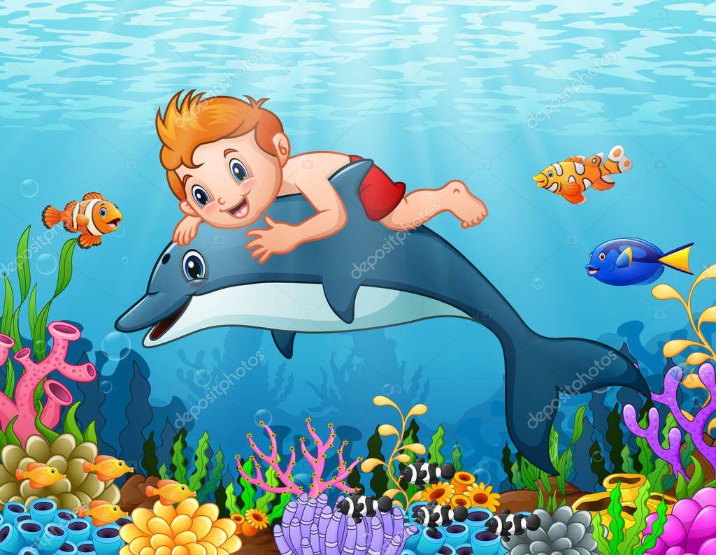 Dibujos delfines nadando ni o de dibujos animados con - Dibujos de pared para ninos ...
