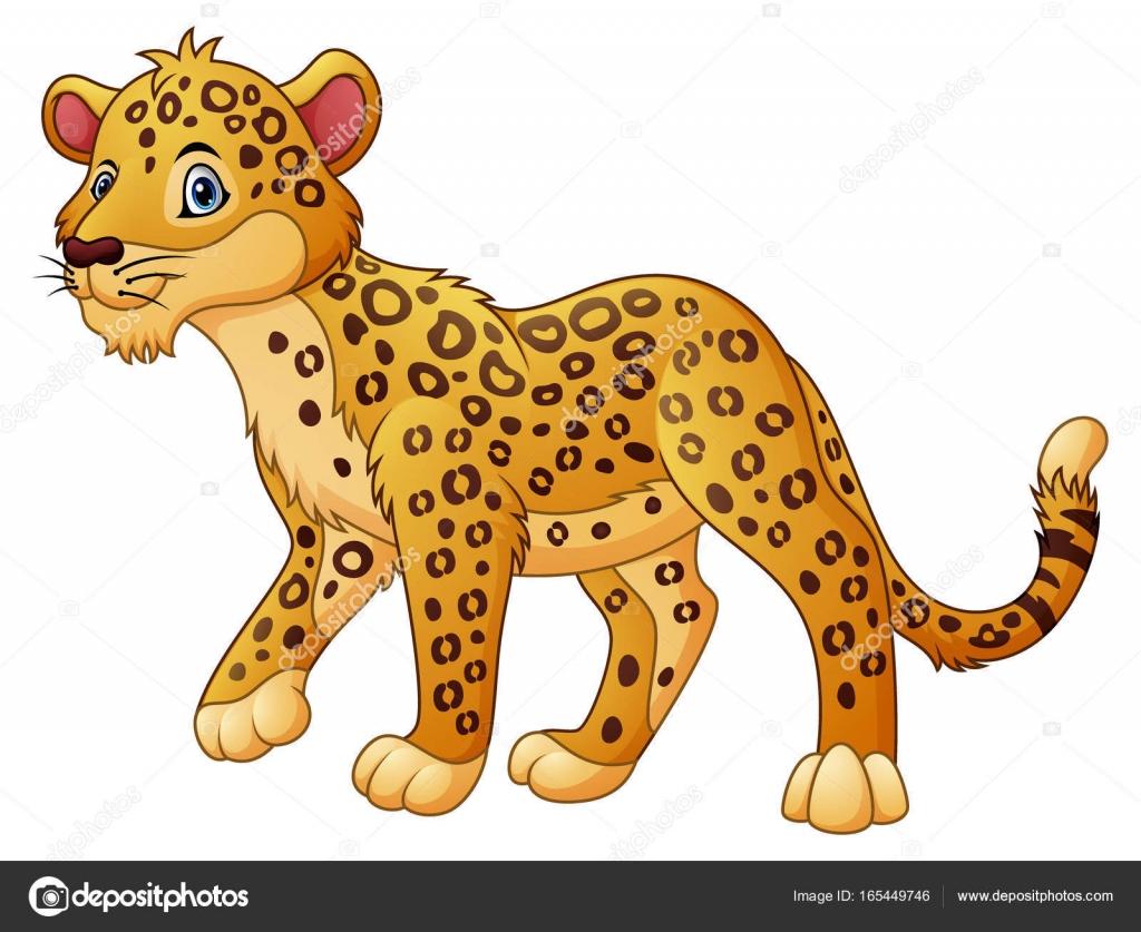 Leopardo De Dibujos Animados Caminar