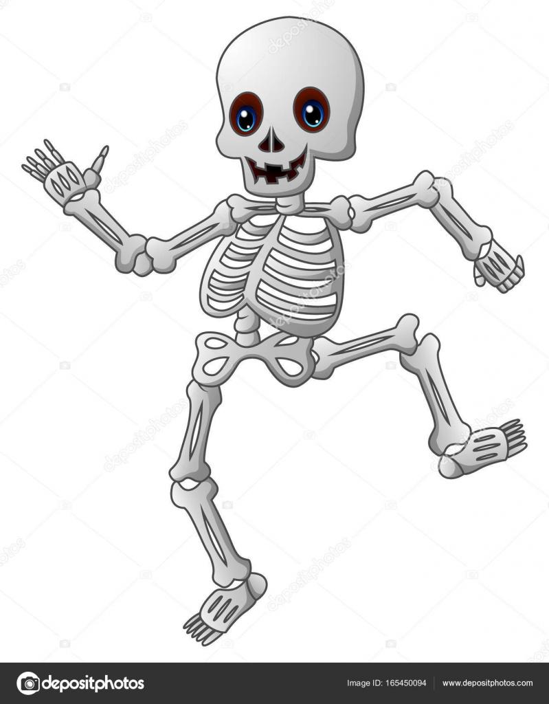 Cute dibujos animados de esqueleto — Archivo Imágenes Vectoriales ...