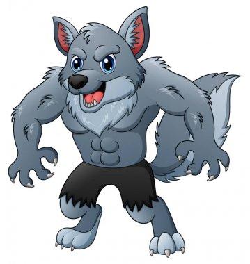 Cartoon werewolf on white background