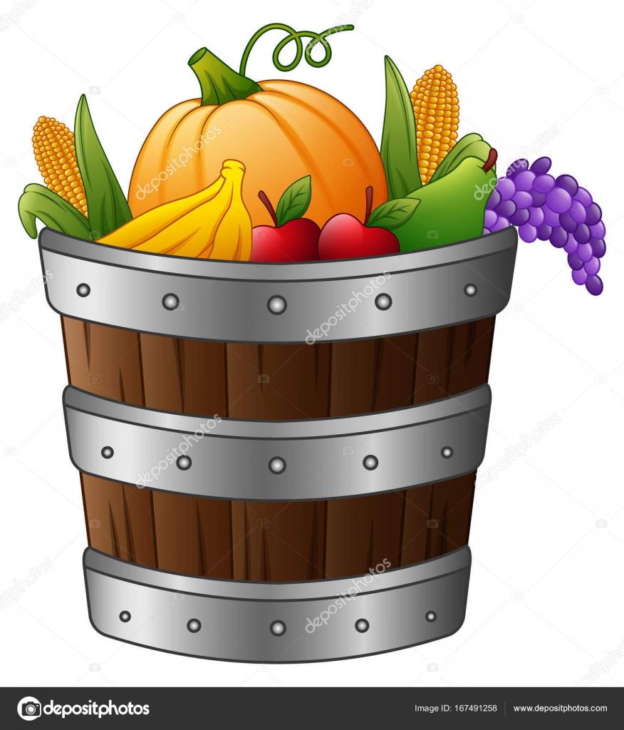 деревянный корзина с урожая овощей и фруктов векторное