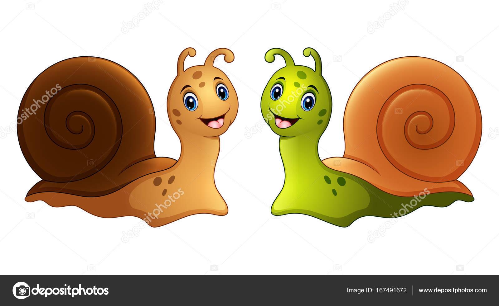 Dibujos Animados De Caracoles En Dos Colores