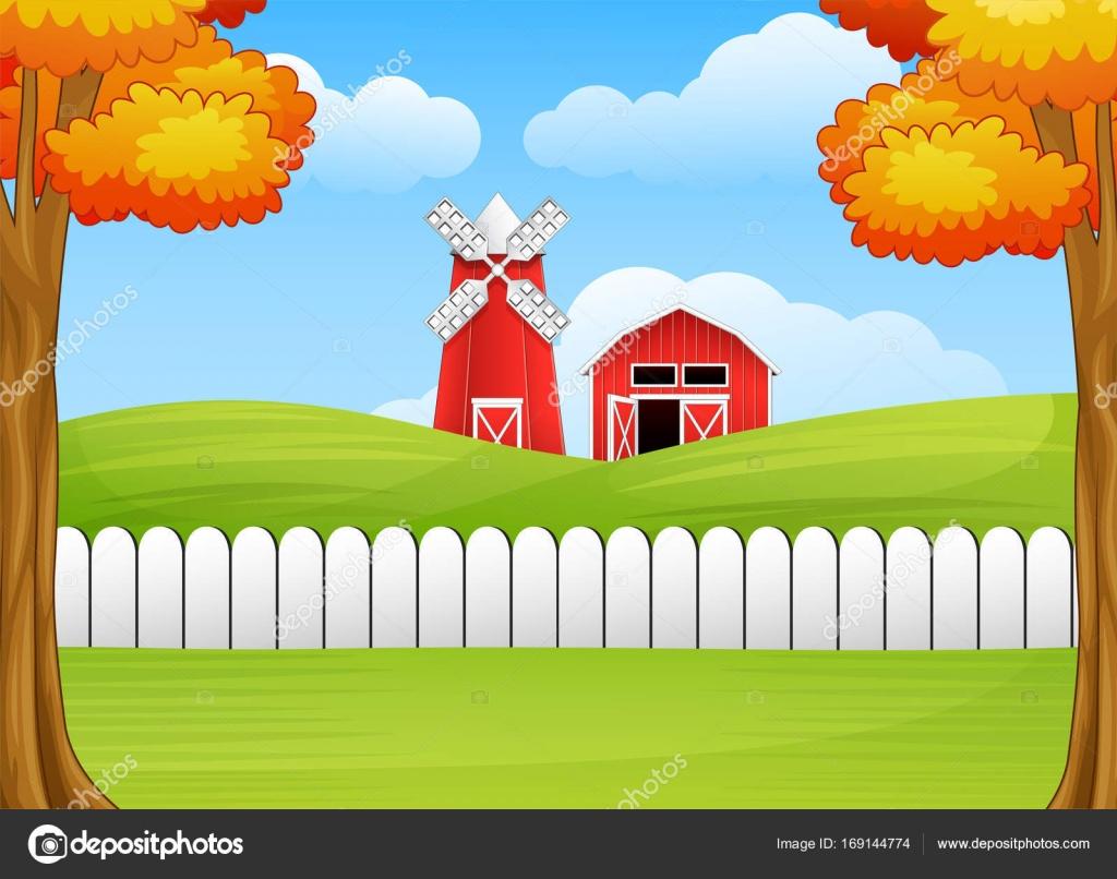 Cartoon farm landscape with windmill and barn — Stock Vector ... for Farm Landscape Clip Art  181pct