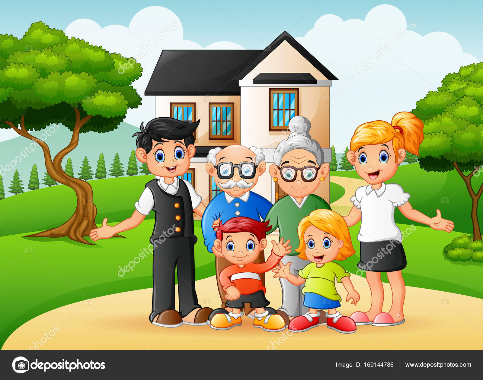 Cartoon happy family members in the front yard of the ...