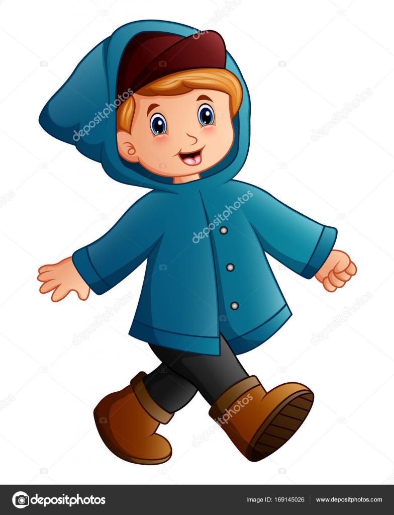 Kresleny Chlapec V Modre Zimni Bunda Chuzi Stock Vektor C Dualoro