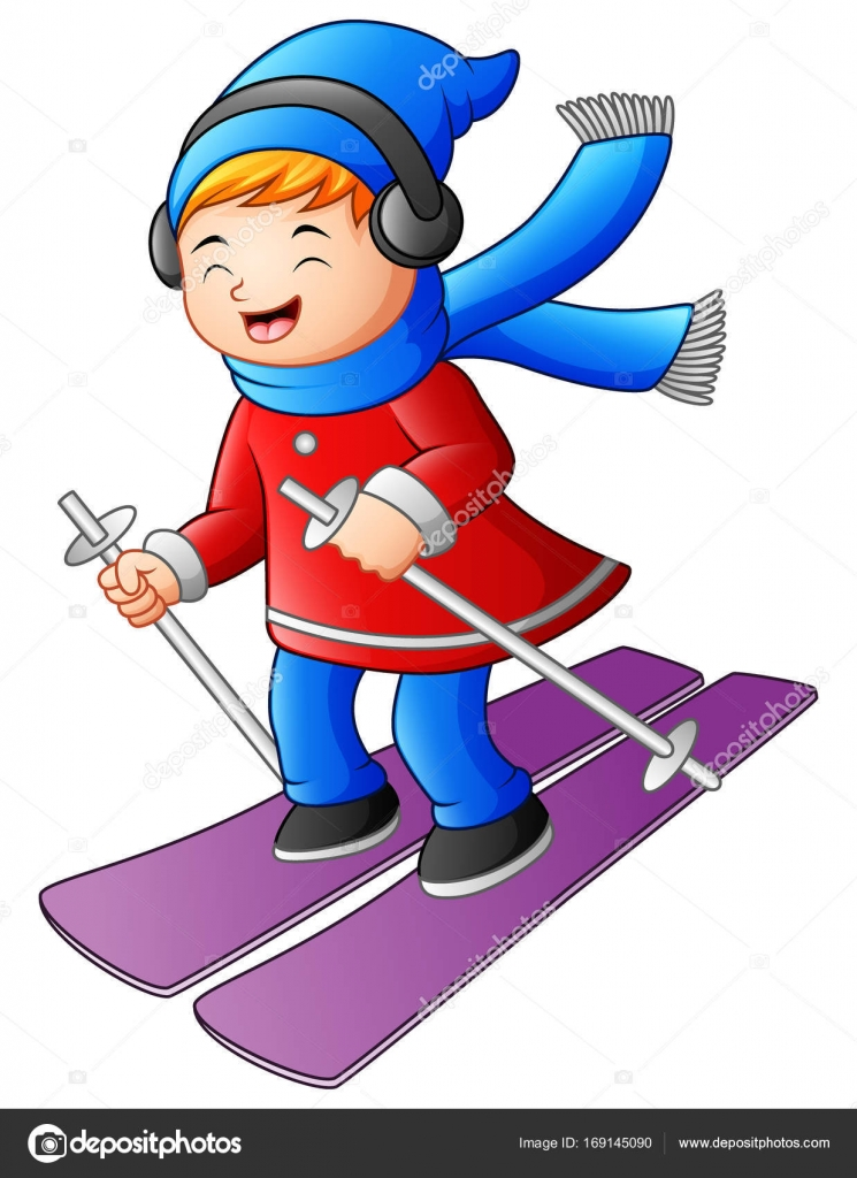 cartoon girl skiing with a headphones — stock vector © dualoro