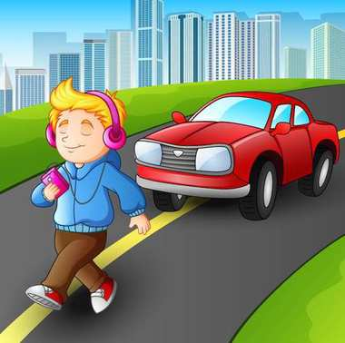 Boy walking listening music player in front car on street city