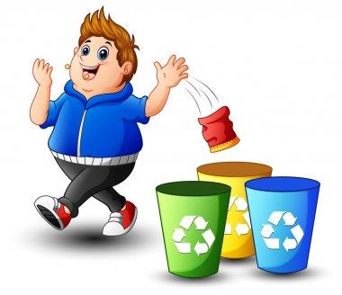 Fat boy throws garbage in the trash